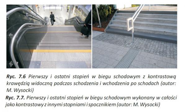 Pożądana forma zaznaczenia schodów w przestrzeni publicznej.