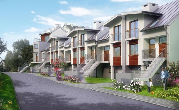 Osiedle Siedem Dębów na wizualizacji. Budowa domów jest już ukończona.