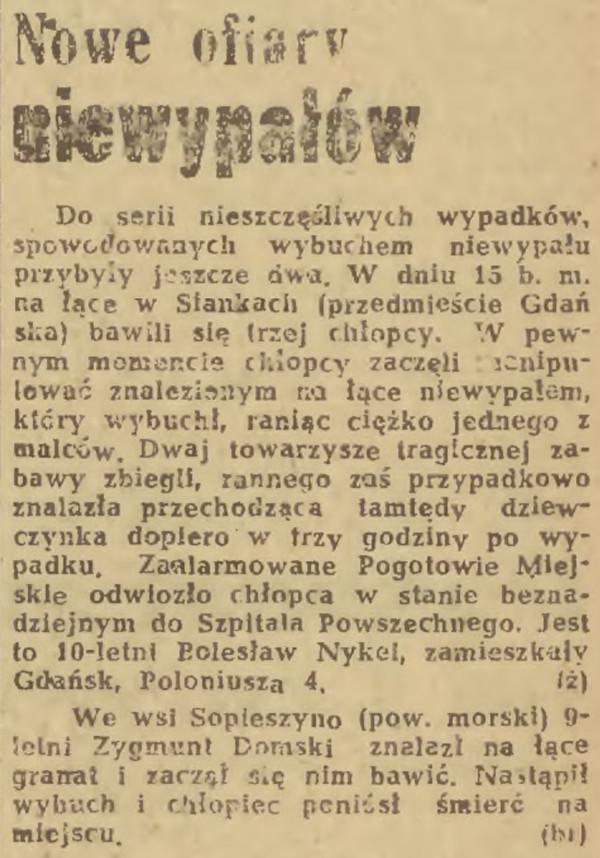 """Doniesienie o wypadkach z udziałem dzieci na pierwszej stronie """"Dziennika Bałtyckiego"""" z 18 października 1947 r."""