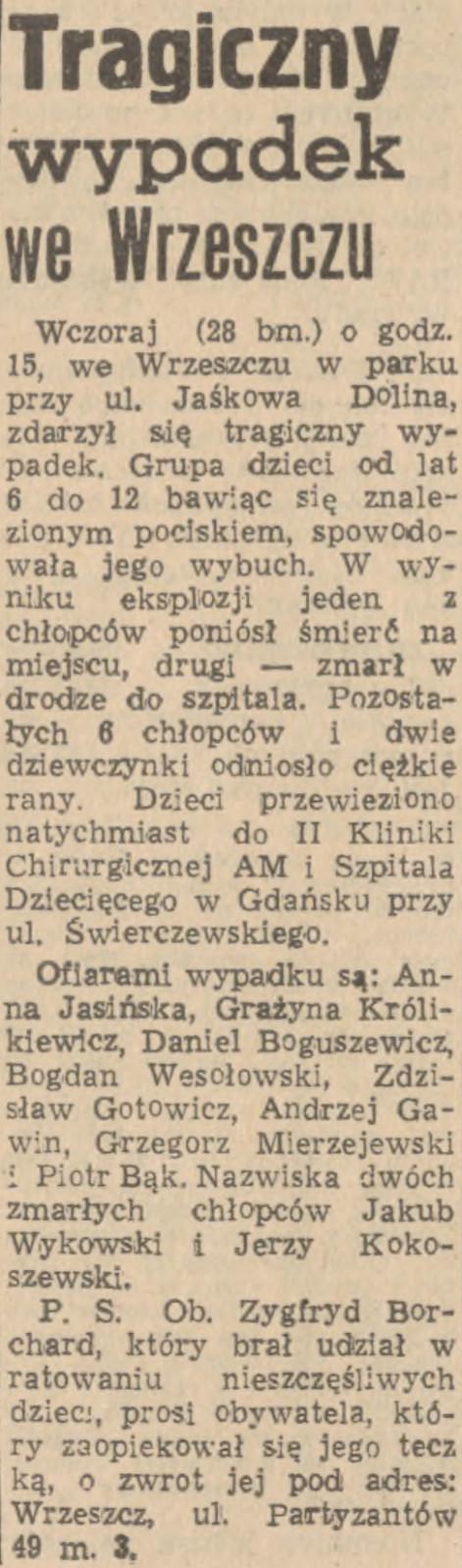 """Tragiczny wypadek w Parku Jaśkowej Doliny we Wrzeszczu wstrząsnął Trójmiastem; doniesienie """"Dziennika Bałtyckiego"""" z 29 czerwca 1957 r."""