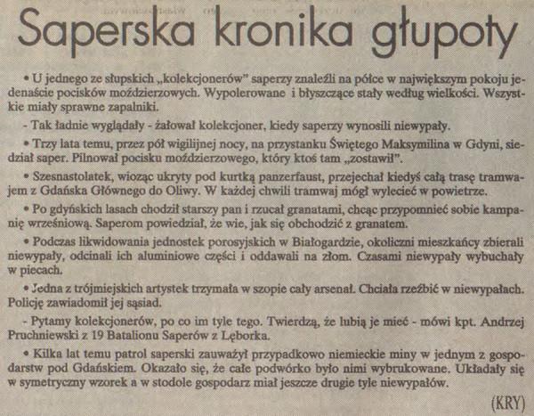 """Kuriozalne sytuacje opowiedziane dziennikarzom przez saperów; """"Dziennik Bałtycki"""" z końca maja 1997 r."""