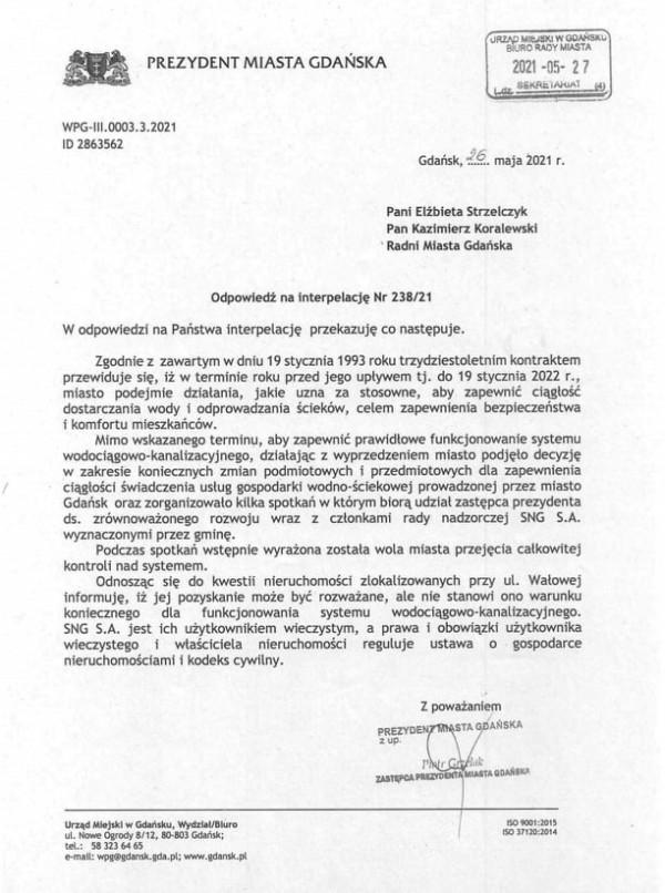 Odpowiedź władz Gdańska na interpelację ws. dalszej współpracy z SNG.