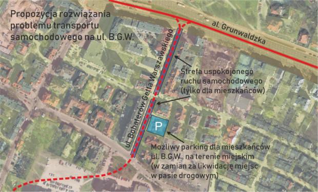 Propozycja utworzenia parkingu wyłącznie dla mieszkańców ul. Bohaterów Getta Warszawskiego.