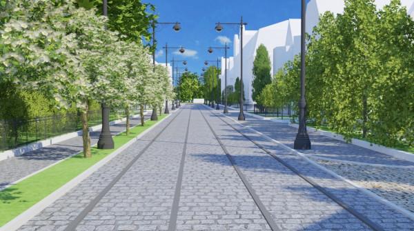 W północnej części ulicy, gdzie budynki stoją bliżej siebie, sieć trakcyjna mogłaby zostać rozciągnięta między ścianami kamienic. W części południowej słupy trakcyjne byłyby niezbędne. No chyba że tramwaje jechałyby tędy na akumulatorach.