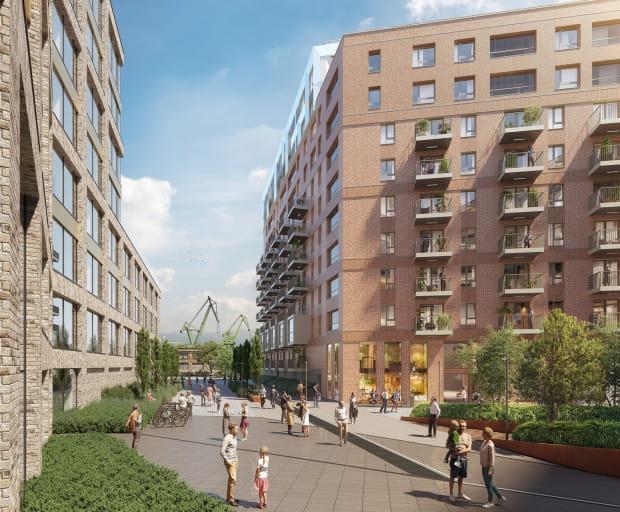 W pierwszym etapie inwestycji powstaną 243 mieszkania z widokiem na tereny stoczniowe i charakterystyczne żurawie.