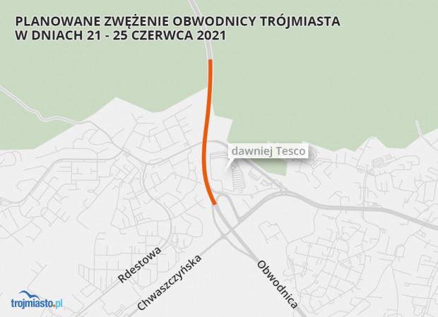 Od poniedziałku do piątku między Karwinami a Chwarznem w kierunku Gdyni pojedziemy tylko jednym pasem.