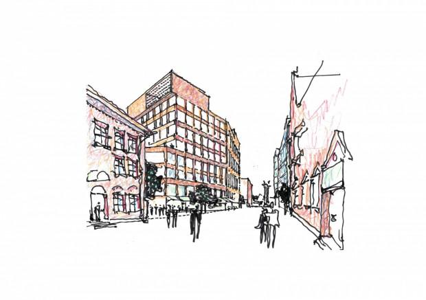 Szkice przyszłej zabudowy wykonane przez prof. Rainera Mahlamäkiego.