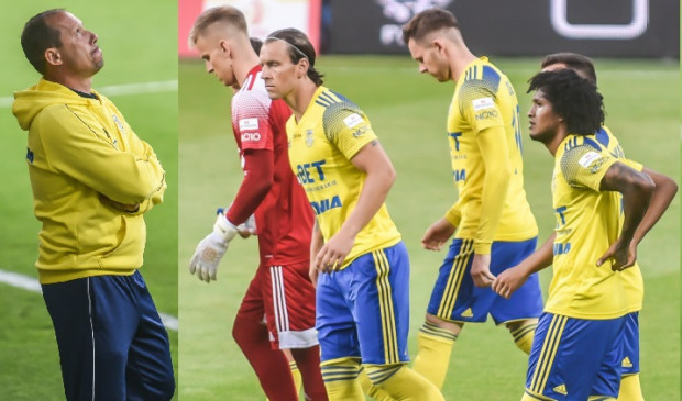 Dariusz Marzec (z lewej) o meczu Arka Gdynia - ŁKS Łódź (0:1): Ponieśliśmy klęskę, mimo że byliśmy drużyną lepszą.