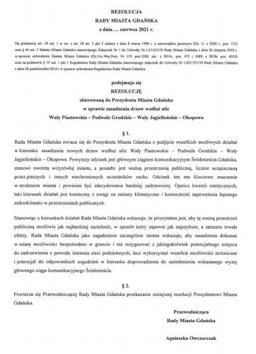 Rezolucja radnych KO do prezydent Gdańska trafi na czerwcową sesję Rady Miasta.