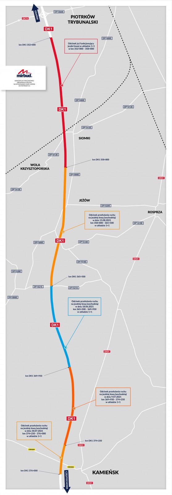 Etapy oddawania do użytku wschodniej jezdni (prowadzącej na południe) autostrady A1 w woj. łódzkim.