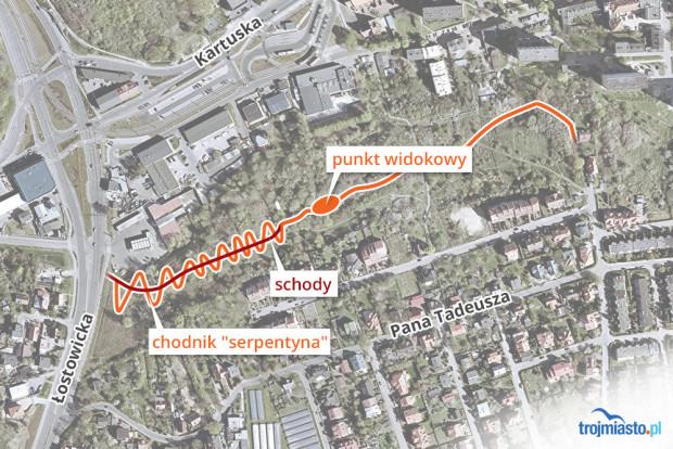 Lokalizacja Parku na Zboczu. Teren należący do dewelopera znajduje się na skarpie w górnej części grafiki, za ul. Kartuską.