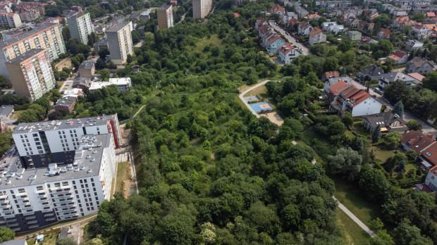 Teren między ulicami Szarą i Maryli. Widoczne w centrum zdjęcia boiska są częścią Parku na Zboczu. Deweloper chciałby zbudowac osiedle domów jednorodzinnych tuż obok.