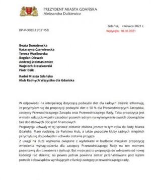 Odpowiedź prezydent Gdańska na interpelację ws. podwyżek dla radnych dzielnic.