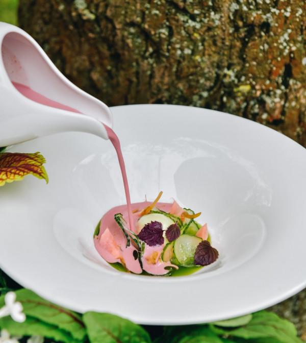 W Eliksirze zjemy chłodnik z kiszonego buraka z dodatkiem piklowanych warzyw.