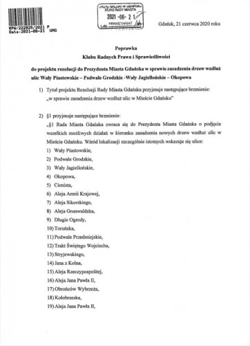 Poprawka radnych PiS do rezolucji radnych KO ws. nowych drzew.