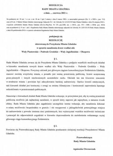 Rezolucja radnych KO ws. drzew.