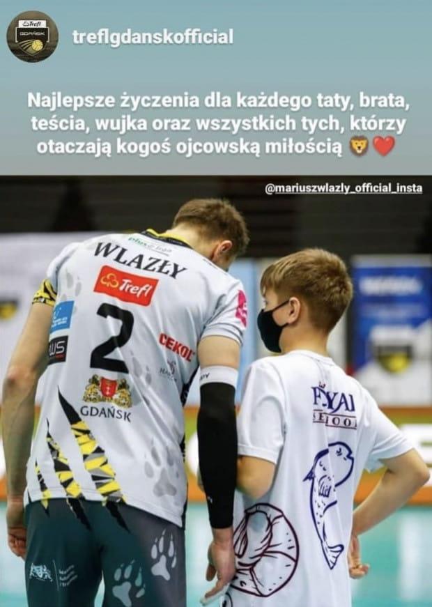 Mariusz Wlazły z synem. Życzenia od Trefla Gdańsk dla wszystkich tatusiów.