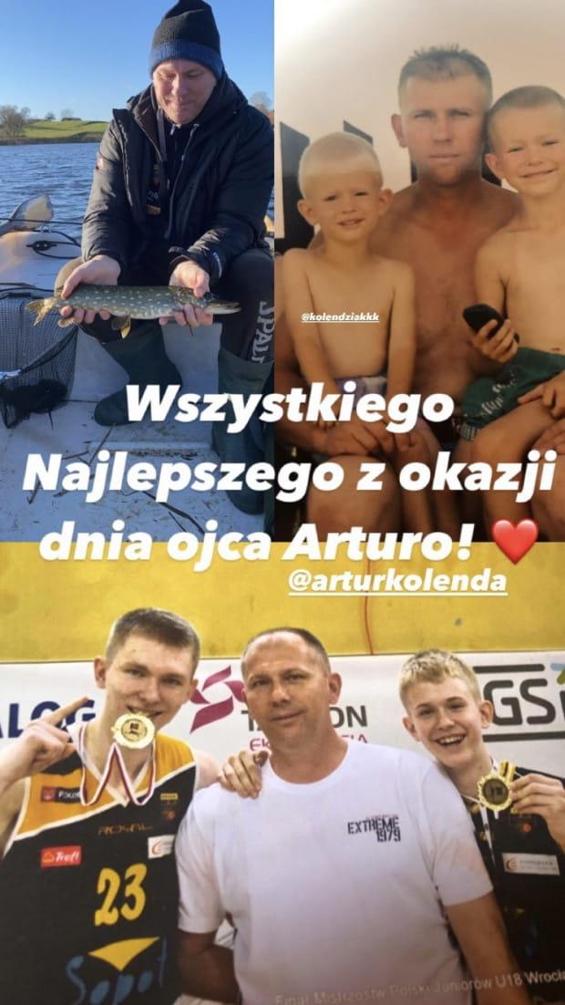 Koszykarze Trefla Sopot: bracia Łukasz i Michał Kolenda z ojcem.