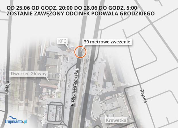 Podwale Grodzkie zostanie zwężone tuż przed kompleksem budynków dworca Gdańsk Główny PKP.