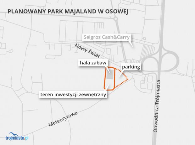 Majaland zajmie działki o powierzchni ok. 5 ha przy zjeździe z obwodnicy.