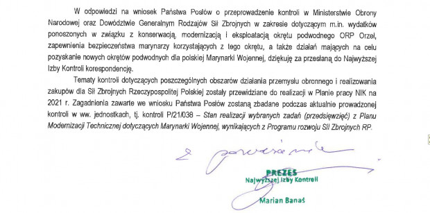 Treść odpowiedzi na wniosek posłów z Pomorza, w której zapowiedziano zbadanie m.in. sprawy ORP Orzeł.