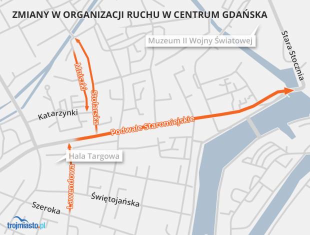 Wybierając się do centrum Gdańska, najlepiej skorzystać z komunikacji miejskiej lub roweru.