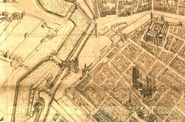 Fragment tzw. planu sztokholmskiego z ok. 1600 roku. W centrum Targ Węglowy. Źródło: Riksarkivet
