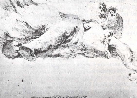 Martwa Hansken sportretowana przez Stefano della Bella, 1655.