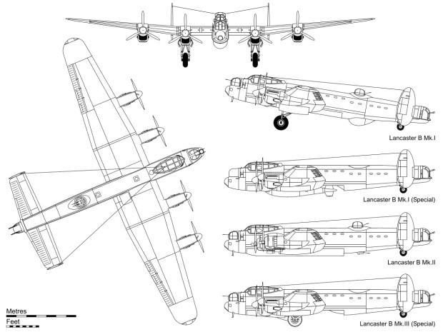 Rzuty bombowców Avro Lancaster, które brały udział w bombardowaniu Gdańska w lipcu 1942 r.