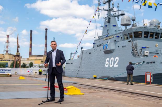 Prezydent Andrzej Duda odwiedził stocznię Remontowa Shipbuilding. Obejrzał powstający w Gdańsku okręt Albatros.