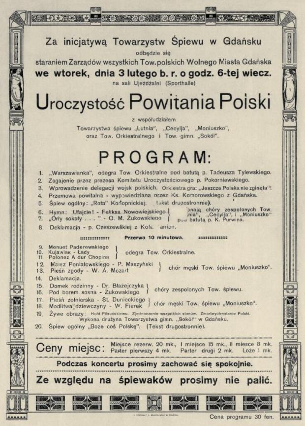 Plakat uroczystości Powitania Polski w Sporthalle z 3 lutego 1920 r.