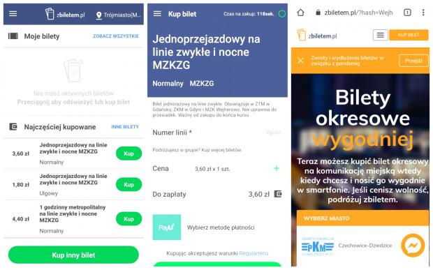 Aplikacja Zbiletem.pl. Od lewej: ekran główny, wybór biletu MZKZG, próba zakupu biletu okresowego.