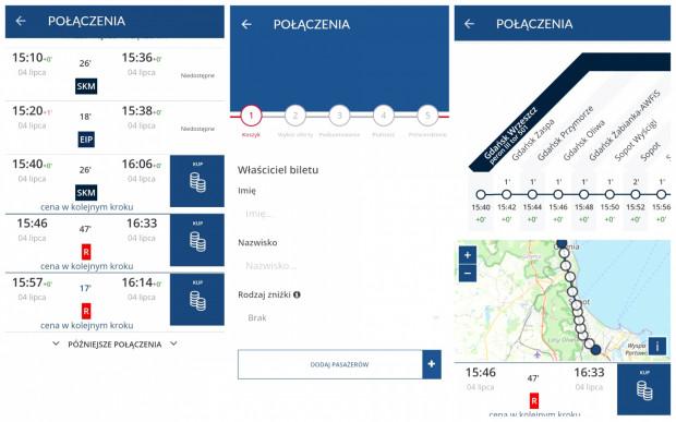 Aplikacja Bilkom. Od lewej: planer podróży, zakup biletu, przebieg trasy.