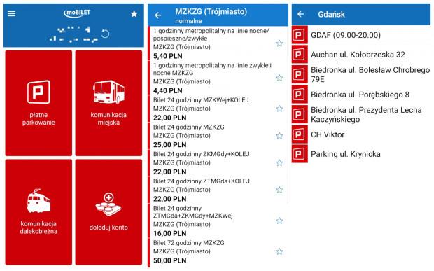 Aplikacja Mobilet. Od lewej: ekran główny, wybór biletu MZKZG, parkowanie pojazdu.