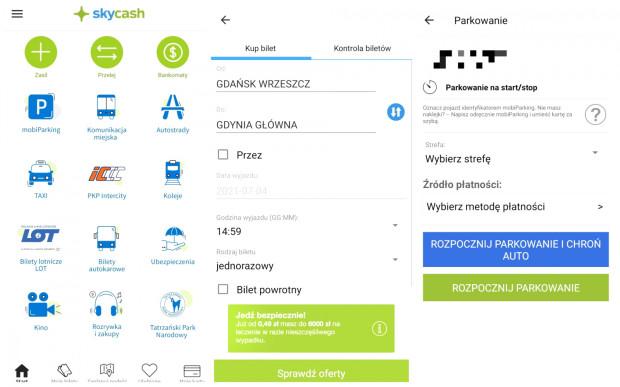 Aplikacja SkyCash. Od lewej: ekran główny, wybór biletu SKM, parkowanie pojazdu.