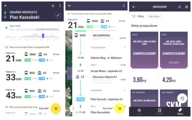 Aplikacja Jakdojade. Od lewej: ekran wyszukiwania trasy, szczegóły przesiadek, zakupu biletów.