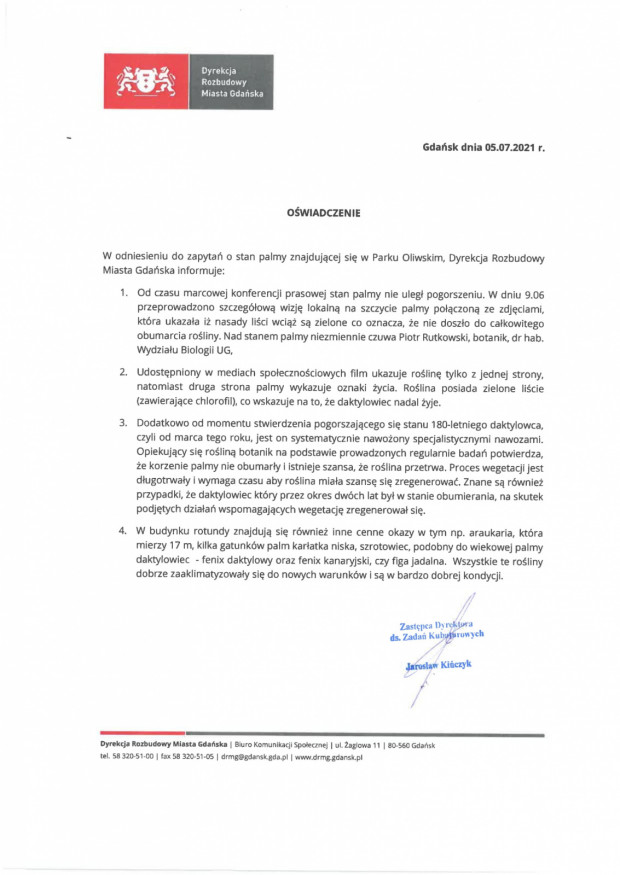Pismo jest sygnowane przez Jarosława Kińczyka, zastępcy szefa DRMG ds. zadań kubaturowych.