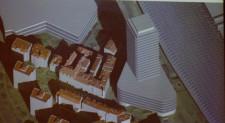 Wieżowiec przed dworcem został maksymalnie przesunięty w stronę Galerii Bałtyckiej, tak aby nie dominować osi ul. Wajdeloty.