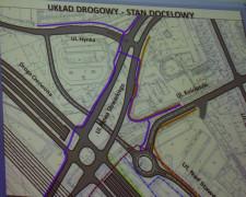 Docelowy układ komunikacyjny w przypadku realizacji Drogi Czerwonej, w obrębie ulic: Nowej Słowackiego (Nowej Kościuszki), Kościuszki oraz Nad Stawem.