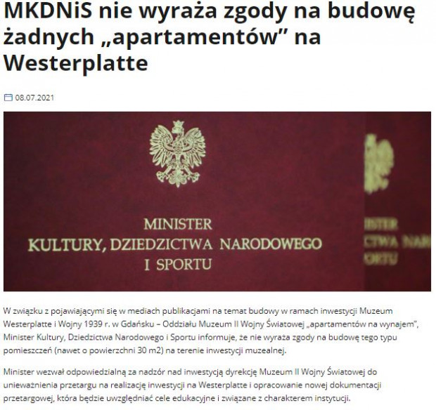 Czwartkowy komunikat ministerstwa.