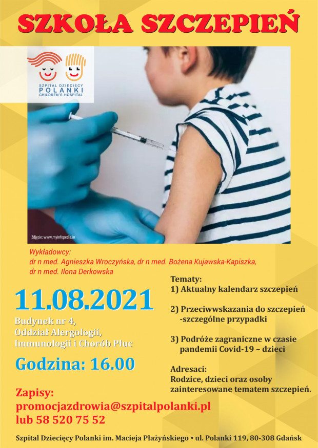 Już 11 sierpnia szpital będzie prowadził specjalne warsztaty i prelekcje w temacie szczepień skierowane do rodziców, dzieci i wszystkich zainteresowanych.