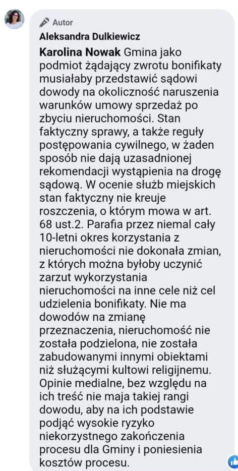 Tak prezydent Gdańska tłumaczyła na Facebooku, dlaczego miasto nie wystąpiło o zwrot bonifikaty.