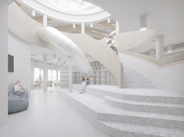 Wizualizacja głównego holu Przystani Sąsiedzkiej ze zjeżdżalnią.