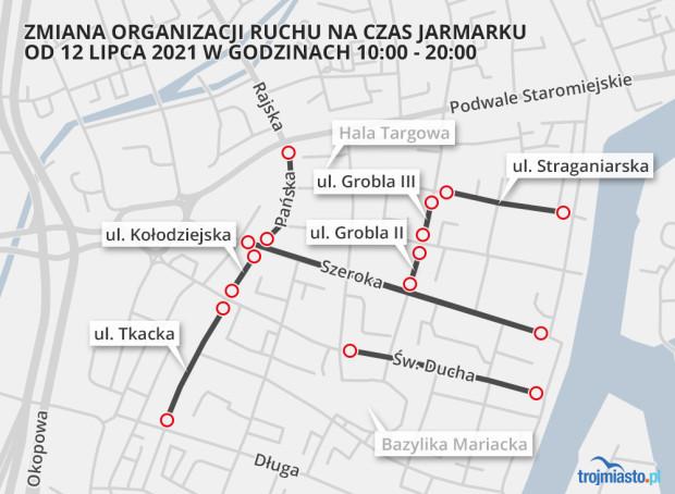 Powyższe ulice zostały wyłączone z ruchu 12 lipca.