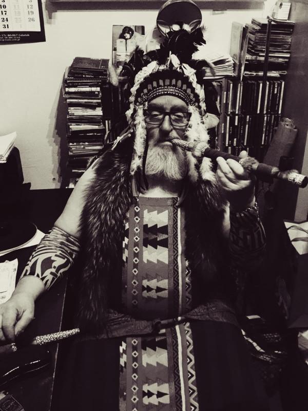 Kazimierz Sobczak w stroju Indianina. Znany był także jako Wielki Wódz Tatanka.