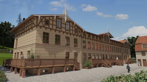 Wizualizacja budynku D z miejscami hotelowymi.