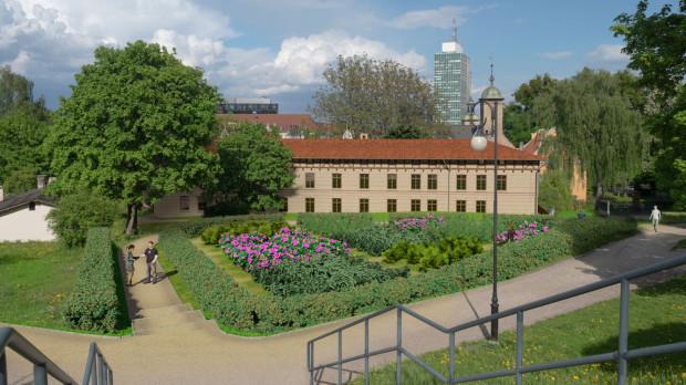 Wizualizacja ogrodu na zapleczu budynków.