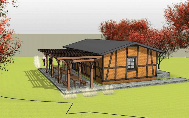 Wizualizacja budynku E - domu pszczelarza.