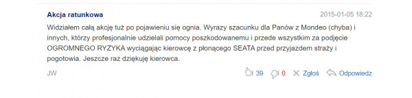 Jeden z komentarzy, który pojawił się pod informacją o tragicznym wypadku.