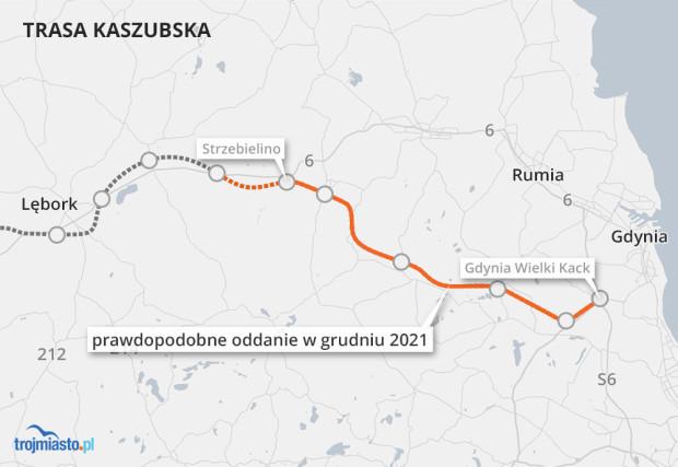 Drogowcy zakładają, że przejezdność odcinka między Gdynią a Strzebielinem uda się osiągnąć w połowie grudnia tego roku.